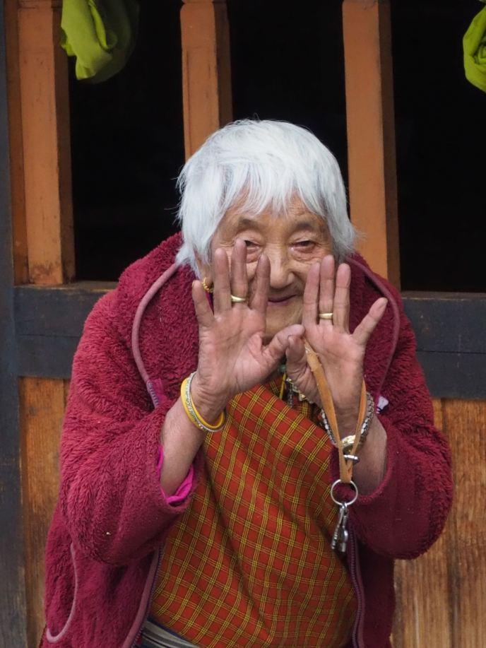Palm facing woman