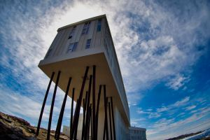 Fogo Island Inn against the sky