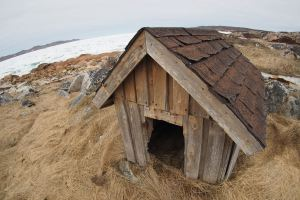 Doghouse by the ice